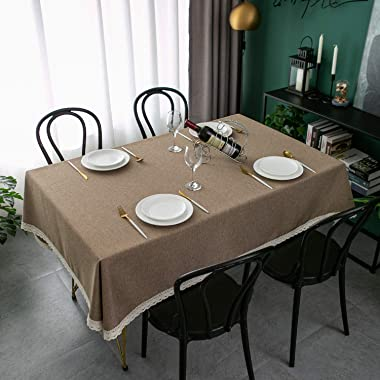 EHouseHome Faux Linen Tablecloth with Lace Trim - Waterproof/Spill Proof/Stain Resistant/Wrinkle Free/Oil Proof - for Banquet