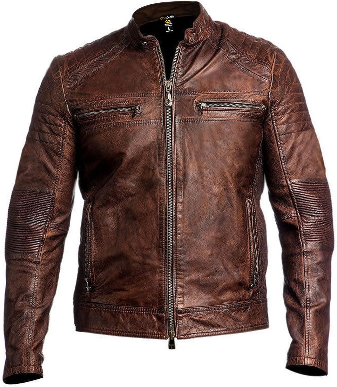Mens Stylish Vintage Distressed Brown Cafe Racer Leather Jacket