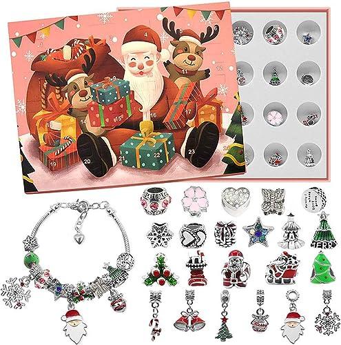 lowest OPTIMISTIC lowest Christmas Advent Calendar DIY Bracelets Earring Set, Christmas Countdown Calendar Gift Box, Fashion online Charm Jewelry Gift Set for Girls, Christmas Ornament Decoration, Bracelet Included (G) sale
