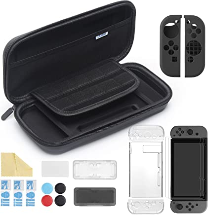 $21 » iAmer 11 in 1 Starter Kits for Nintendo Switch, Carrying Case for Switch+Transparent Switch Cover+3pcs Switch Screen Protector+Silicone Joy-Con Gel Guards+Thumb Grips Caps+ Game Card Case+Screen Wipe