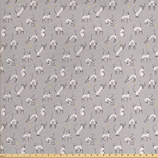 Ambesonne Grey Fabric by The Yard, Siamese Cat on Wall Design Playing and Posing Feline Kitty Design, Decorative Fabric for Upholstery and Home Accents, 1 Yard, Pale Grey