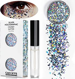 Silver Holographic Chunky Glitter Cosmetic Body Face Hair Eye For EDC Musical Festival Carnival Concert Dance Party Beauty Rave Tattoo Makeup 8 Sizes&Shapes ✮15g + FREE Quick Dry Primer Glue Gel(5ml)
