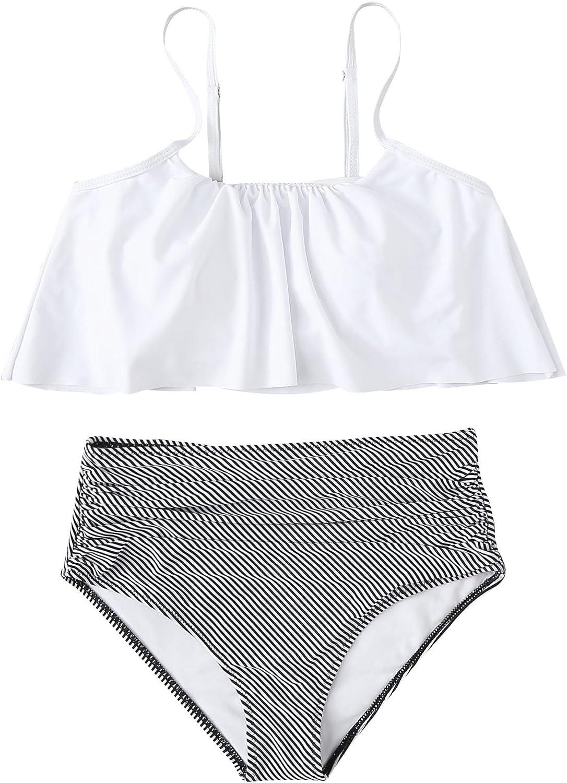 SOLY HUX Women's Strappy Flounce Bikini Striped High Waisted Swimsuit White XL