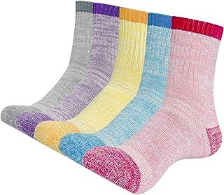 KONY Womens Cotton Full Cushioned Hiking Socks, 5 Pack Moisture Wicking Outdoor Trekking Crew Socks