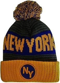 BVE Sports Novelties New York NY Patch Ribbed Cuff Knit Winter Hat Pom Beanie