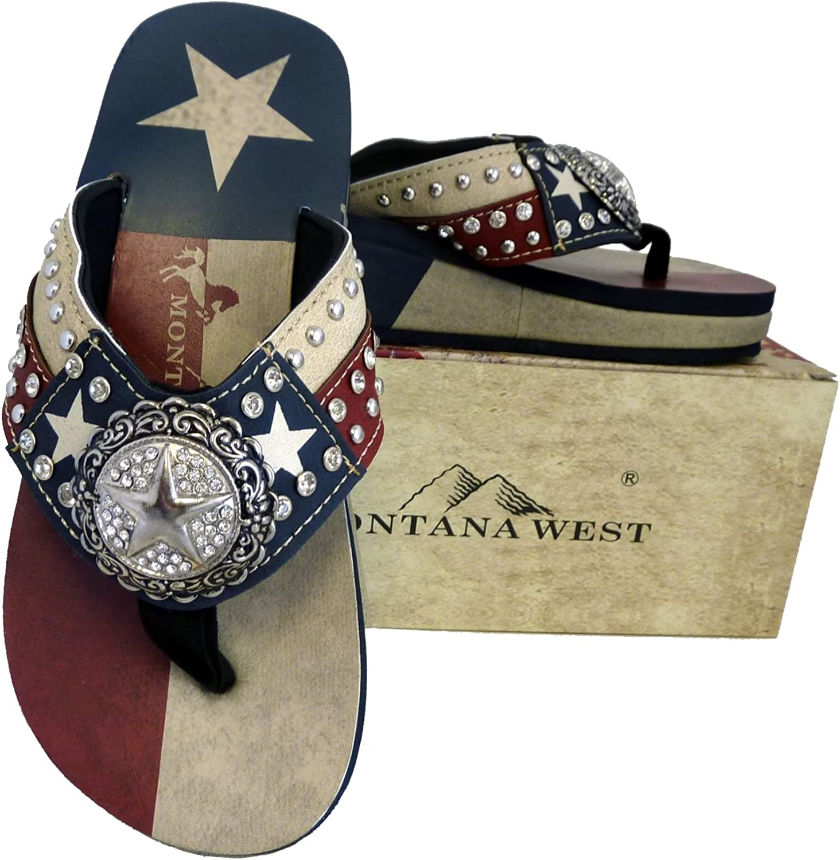 Montana West Ladies Flip Flops Texas Lone Star Flag Navy bluee