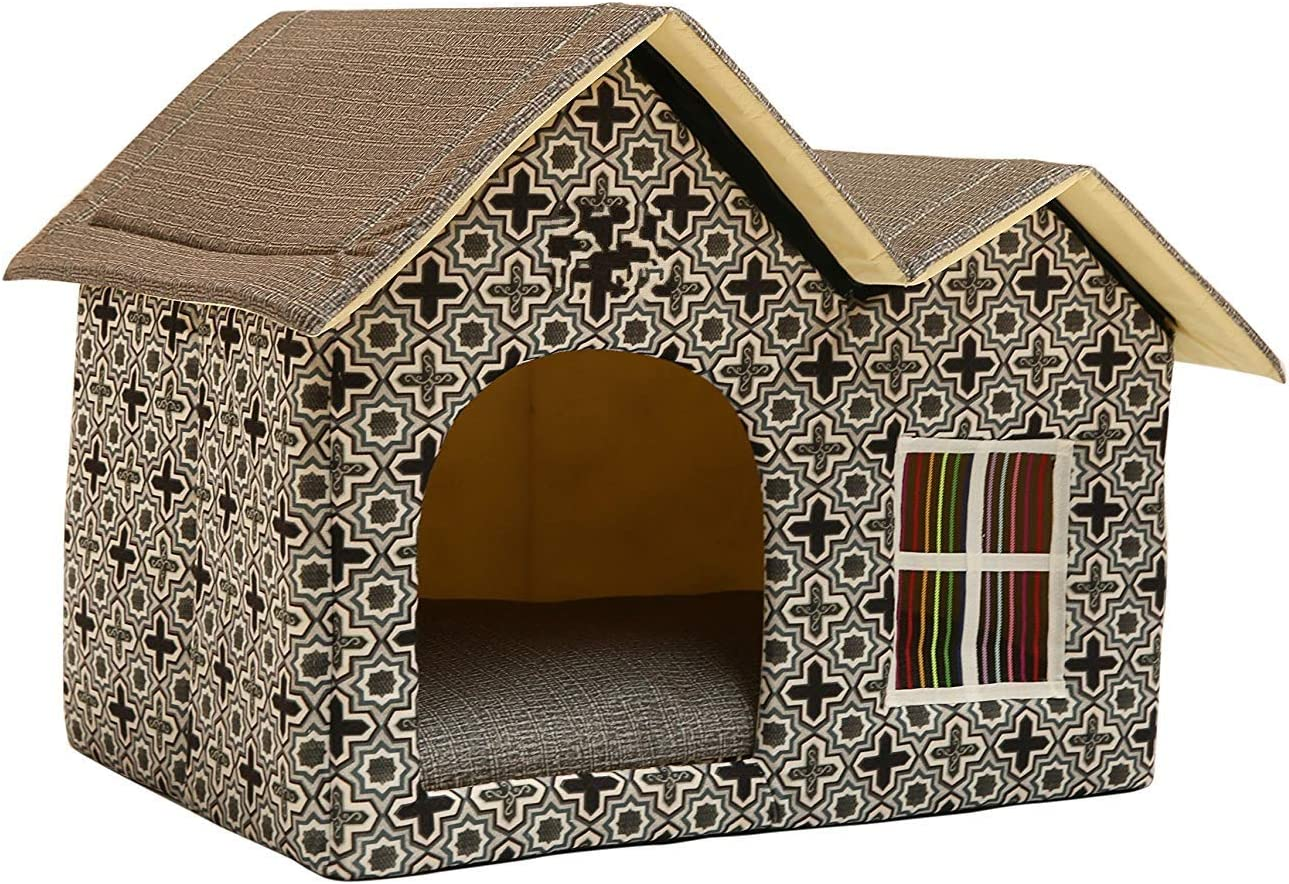Amazon Com Wowowmeow Portable Pet Indoor Soft Dog House Bed Removable Cushion Included Foldable Small Dog Cat Warm House Bed Double Roof Brown Pet Supplies