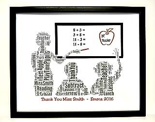 Nuovo design personalizzato 'Insegnante' grazie Word Art (Female) Design (A) presentato in una cornice frontale di vetro. ...