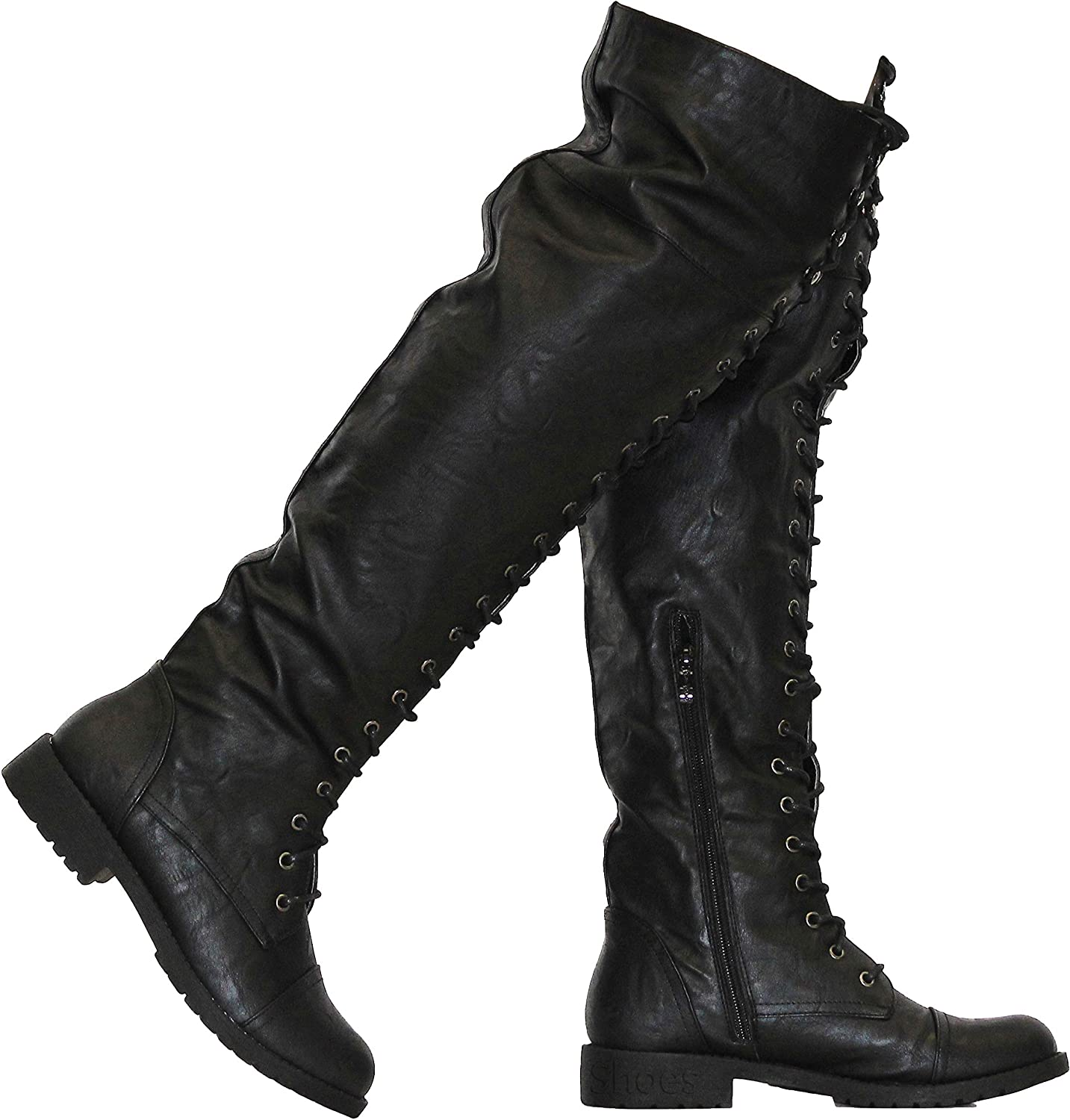 Nature Breeze FG08 Women Leatherette Over The Knee Lace Up Combat Boot - Black