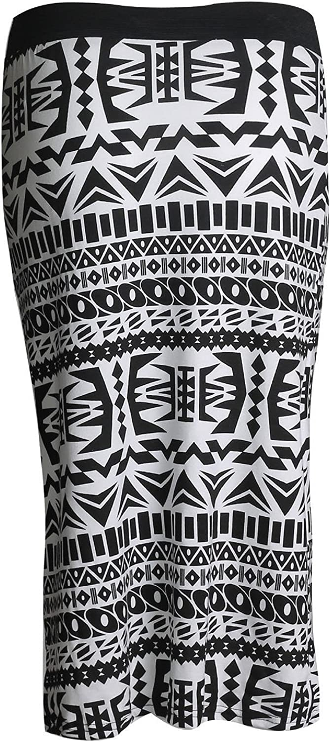 ZJ Clothes Womens Celebrity Inspired High Waisted Wetlook Bodycon Pencil Skirt (S-M, Big Aztec Tribal)