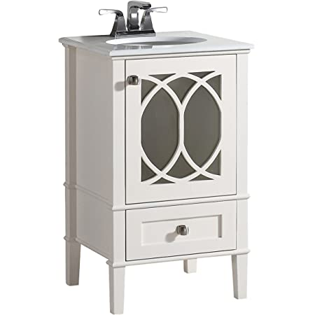 Simplihome Paige 20 Inch Contemporary Bath Vanity In Soft White With White Engineered Quartz Marble Top Amazon Com