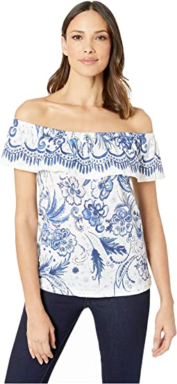 Printed Crinkle Knit Off Shoulder Top with Frill