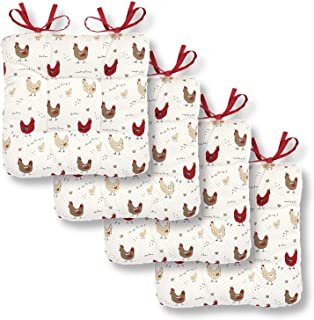 Cackleberry Home Farmhouse Chicken Seat Cushions Ties 15 Inches Square Reversible, Set of 4