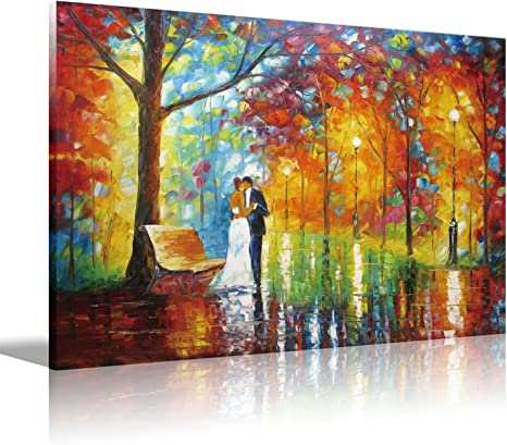 Amazon.com: Lovers Canvas Wall Art Couple Kissing in The Park,Artwork Romantic Painting for Living Room Bedroom,Office Decorations Wall Decor,Canvas Prints Stretched and Framed Ready to Hang,12x16inch(30x40cm)1pc: Posters & Prints