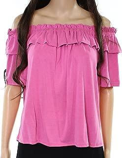 Womens Off-Shoulder Ruffle Knit Top Pink XS