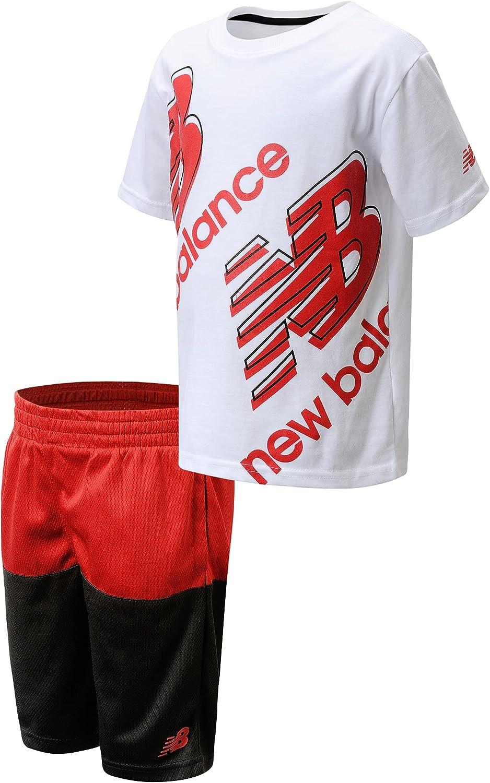 New Balance Baby Boys' Shorts Set – Short Sleeve T-Shirt and Shorts Performance Playwear Set (Toddler/Little Kid)