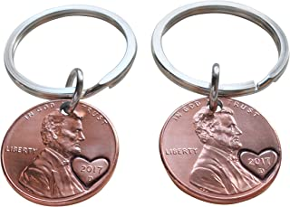 Double Keychain Set 2017 Penny Keychains With Heart Around Year; 2 year Anniversary Gift, Couples Keychain
