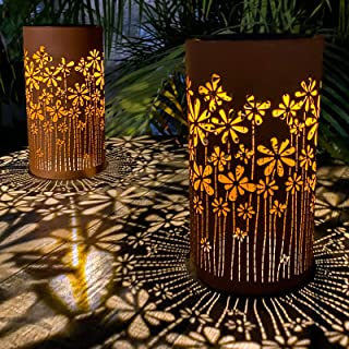 Pearlsatr Outdoor Solar Table Lamp 2pack Metal Flower Shape Solar Lantern Lights, Retro Orange Finish, Outside Decor for P...