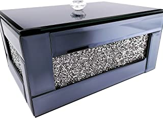 BANQLE Crystal Jewelry Box Encrusted Jewelry Organizer Tray Handmake High-end Luxury Jewelry Box,Office or Home Accessory ...
