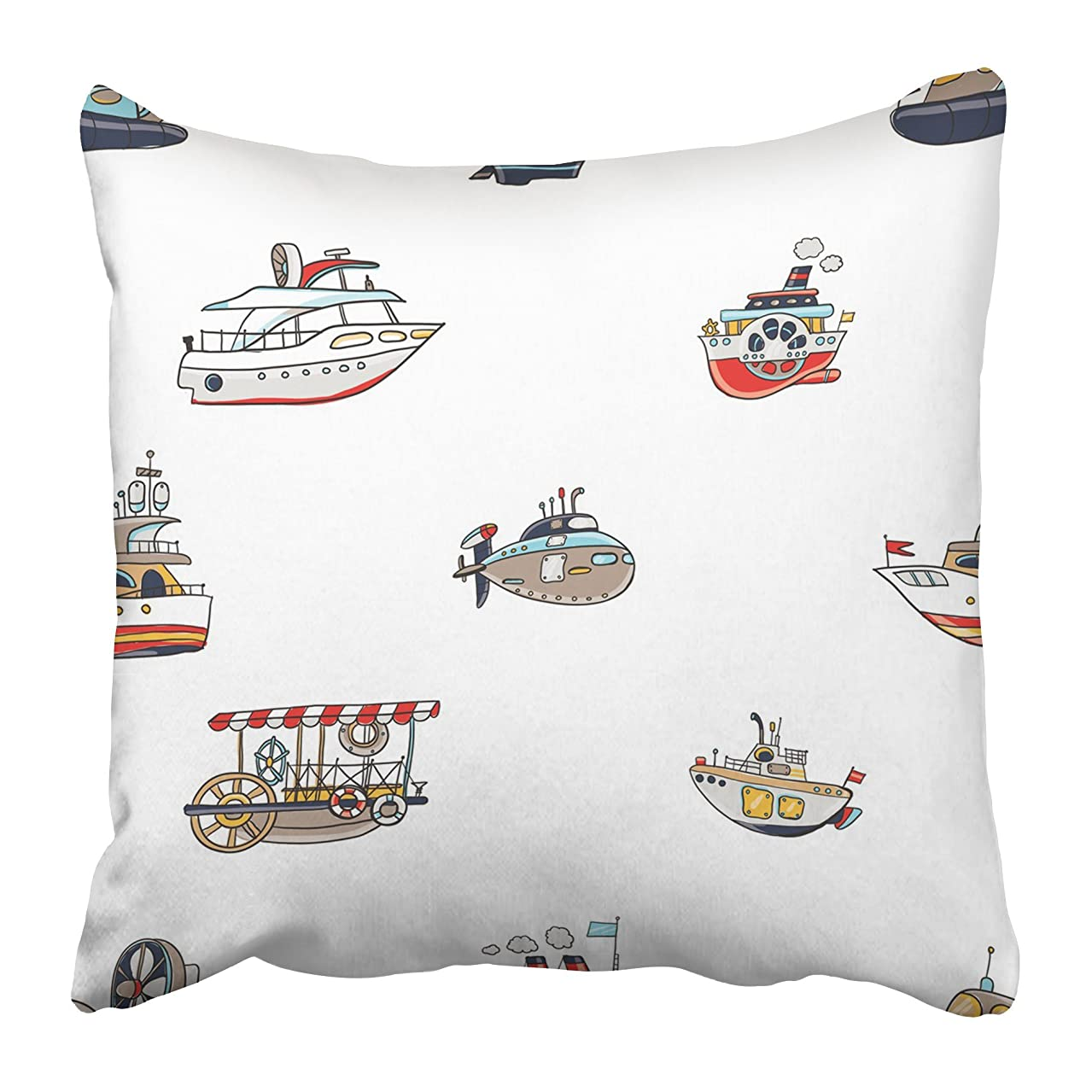 Emvency Decorative Throw Pillow Covers Cases Funny Cute Kids Toy Water Transport for Nursery Baby Bright Cartoon Boat Yacht Hovercraft Bus 18x18 Inches Pillowcases Case Cover Cushion Two Sided