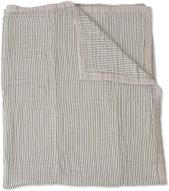 Little Unicorn Extra Soft Cotton Muslin Large Quilt Grey Stripe