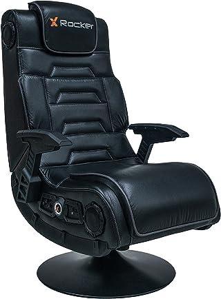 X Rocker Pro 4.1 Pedestal Silla Gaming Asiento Acolchado tapizado - Sillas para Videojuegos (Silla Gaming, Universal, Asiento Acolchado tapizado, Respaldo Acolchado tapizado, Negro, Negro)