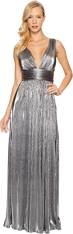 Laundry by Shelli Segal - Metallic Waist Wrap Gown