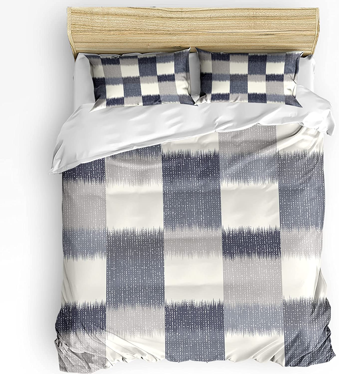 Over item handling ☆ 3 Piece Luxury Bedding Cover Set Abstract Gray Comforter Co Duvet Ombre