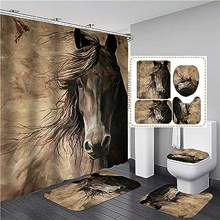 ZHEBEI Benma bathroom set shower curtain with non-slip bath mat door mat toilet cover lid household kitchen carpet