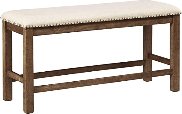 Ashley Furniture Signature Design Moriville Counter Height Dining Room Bench Grayish Brown