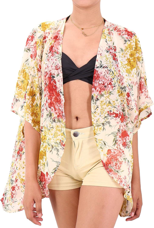 White Floral Summer Sheer Kimono Cardigan