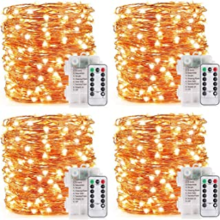 YOEEN 4 Pack 33Ft 100 LED Fairy Lights Battery Operated with Remote Control Timer Waterproof 8 Modes Copper Wire le String...