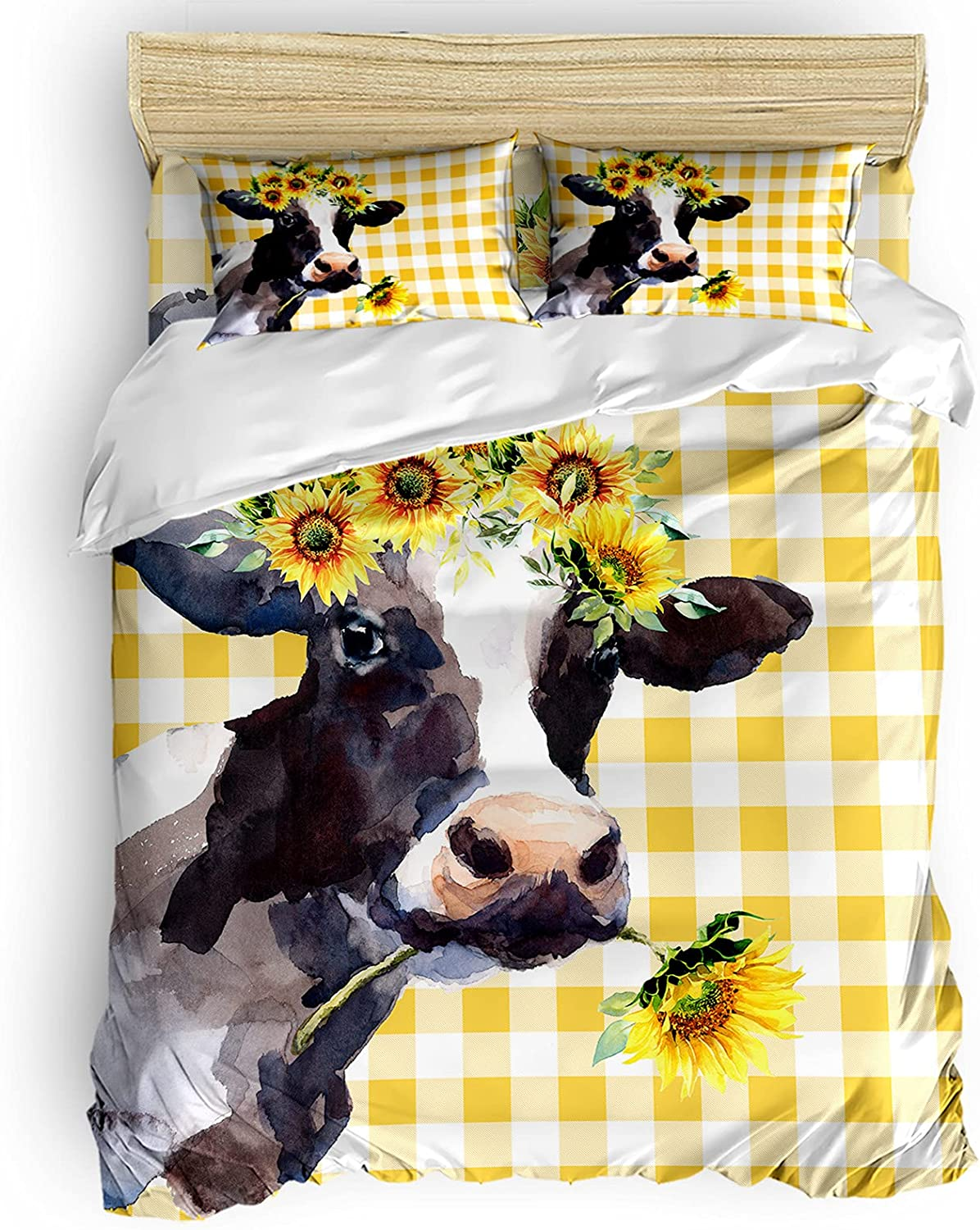 Funny Cattle Sunflower Max 83% OFF Chicago Mall 4 Pieces Bedding Sets California Fla King