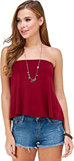 Loving People L.P. Women's Flared Tube Top Strapless Shirt