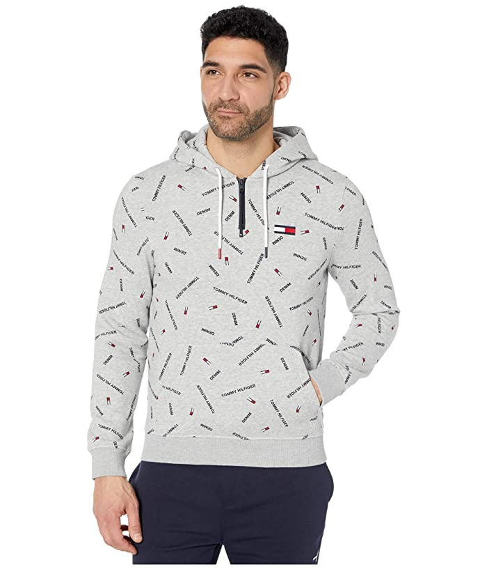 Tommy Hilfiger Adaptive  Signature Pullover Hoodie (Metal Grey Heather/Multi) Mens Clothing