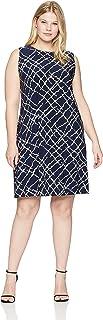 Anne Klein Women's Size Plus Sleeveless U-Neck Swing Dress