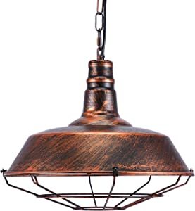 Glighone Lampada a Sospensione Vintage Industriale Lampadario Metallico con Edison Retro E27 Finitura di Rame