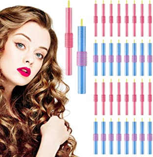 36 Pieces Flexible Curling Rods Foam Hair Twist Foam Hair Curling Rods for Short Medium Long Hair Women Girl, Blue and Pink