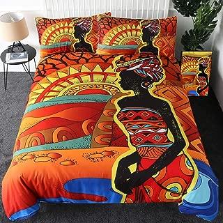 Sleepwish African Woman Bedding Set Ethnic Afro Decor Duvet Covers 3 Pieces Orange Ancient Desert Print Bedspread (Queen)