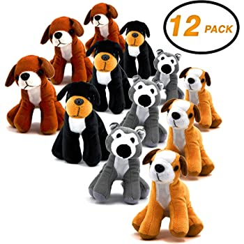 Set of 6 Kids Carnival Prize Gift Idea for Boys and Girls 6 Cute Puppy Designs Fun Birthday Party Favors ArtCreativity Dog Plush Assortment | Soft /& Cuddly Stuffed Animals for Toddlers