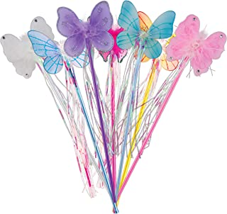 Giggle Time Large Flower and Butterfly Wands | Assorted Princess Wands for Pretend Play | Individually Bagged (12) Pieces | 15 inches