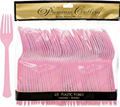 Amscan Heavyweight New Pink Plastic Forks, 48 Ct.