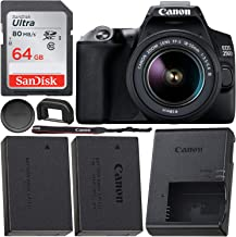 $599 Get Canon EOS 250D (Rebel SL3) DSLR Camera with 18-55mm DC III Lens & Starter Accessory Bundle – Includes: Free Promotional SanDisk Ultra 64GB SDXC Memory Card & Extended Life Spare Battery