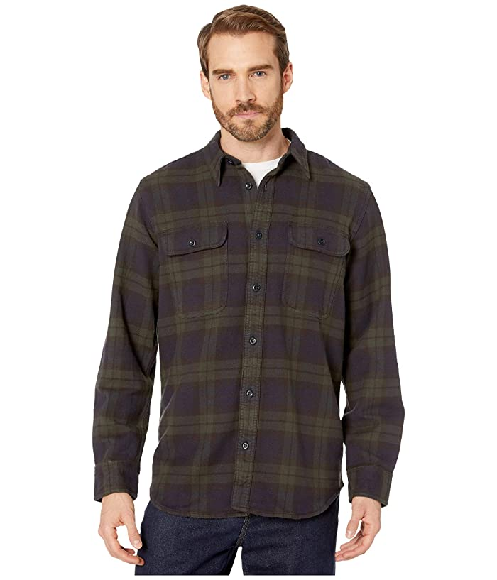 1940s Style Mens Shirts, Sweaters, Vests Filson Vintage Flannel Work Shirt BlackGreenNavy Mens Clothing $145.00 AT vintagedancer.com