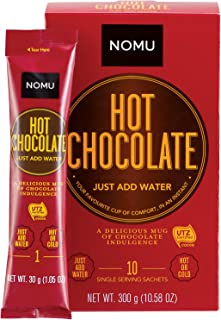 NOMU On-The-Go Hot Chocolate Packets (10 count) 1.06oz - Just Add Water Gourmet Instant Cocoa Powder Mix Individual Sachets