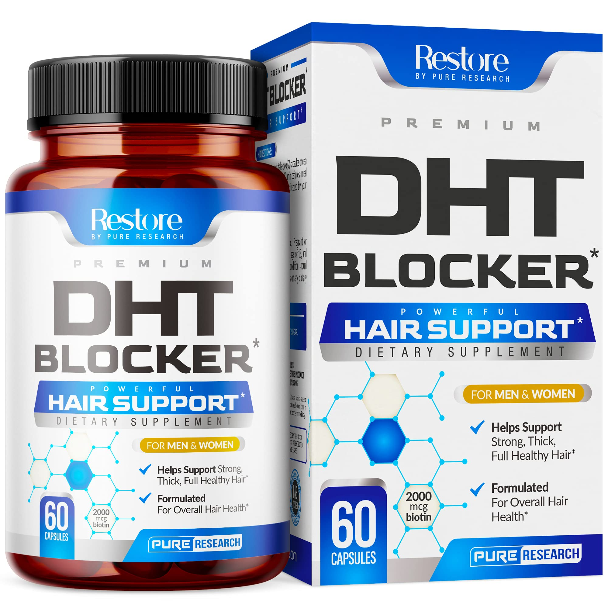 DHT Blocker Hair Support Supplement - Supports Healthy Hair Support - Helps Support Healthy Thicker Stronger Hair - With High Potency Biotin and Saw Palmetto - For Men And Women - One Month Supply