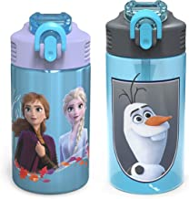 Zak Designs Disney Frozen 2 Kids Water Bottle Set with Reusable Straws and Built in Carrying Loops, Made of Durable Stainl...