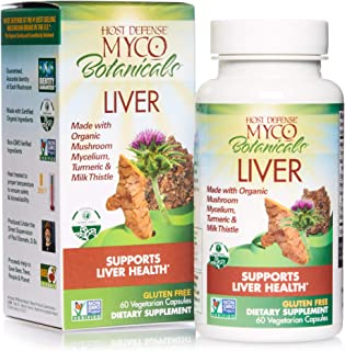 Host Defense, MycoBotanicals Liver, Supports Liver Health and Detoxification, Daily Mushrooms and Herb Supplement with Tur...