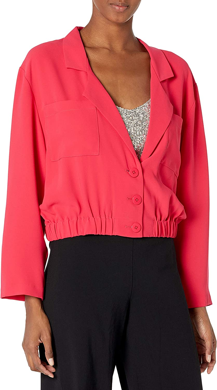 Amanda Uprichard Women's Albany Elastic Waist Button Up Cropped Jacket