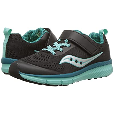 Saucony Kids Ideal A/C (Little Kid) (Black/Turquoise) Girls Shoes